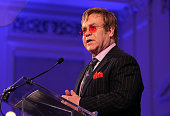 Sir Elton John speaks after recieving a Rockefeller Foundation Lifetime Achievement Award for his contribution to the fight against HIV/AIDS at The...