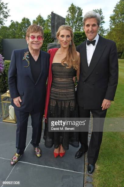Sir Elton John Vanessa Bradford Kerry and former Secretary of State John Kerry attend the Woodside Gallery Dinner in benefit of Elton John AIDS...