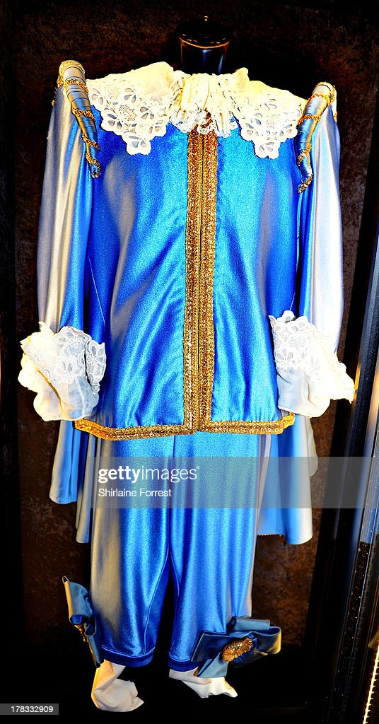Sir Elton John's suit inspired by Gainsborough's 'Blue Boy' is displayed as part of Hard Rock Cafe's Hard Rock Couture exhibition on August 29, 2013 in Manchester, England.