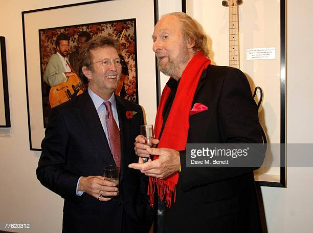 Sir Eric Clapton and Ed Victor attend a private view of photographs dedicated to Sir Eric Clapton to celebrate his latest book 'Eric Clapton The...