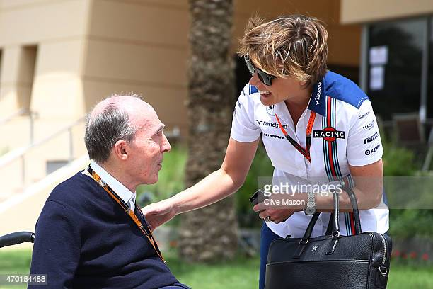 Sir Frank Williams the team principal of Williams speaks with his daughter Williams Deputy Team Principal Claire Williams during final practice for...