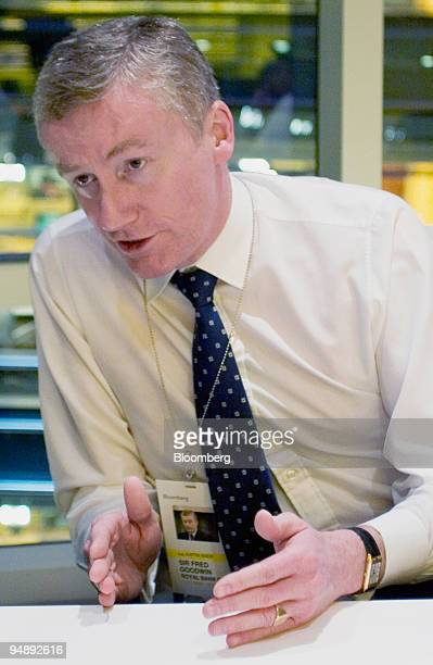 Sir Fred Goodwin CEO Royal Bank of Scotland Group Plc gestures during an interview in New York Tuesday November 1 2005 Goodwin said he has no plans...