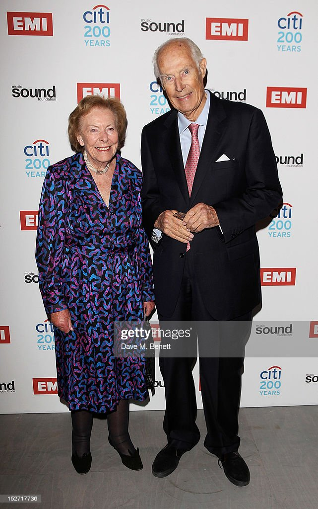 Sir George Martin (R) and Lady Judy Martin arrive at the EMI Music Sound Foundation fundraiser at Somerset House on September 24, 2012 in London, England.