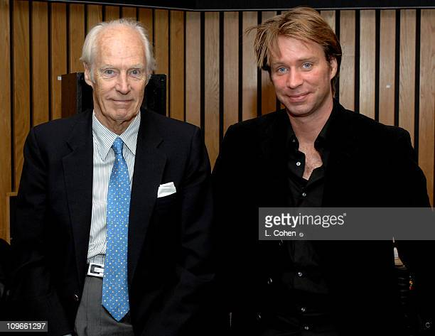 Sir George Martin and son Giles Martin producers of The Beatles' 'LOVE' album at Capitol Studios