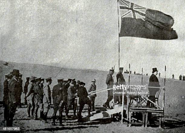 Sir George Reid High Commissioner of Australia in Egypt rant Australian troops to the Pyramid on his left General Sir John Maxwell commander of...