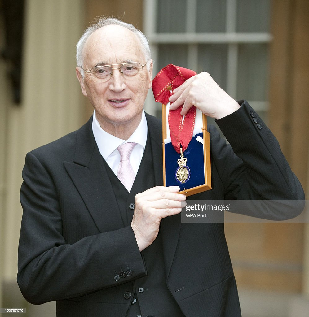 Sir George Young poses after being awarded the Order of Companions Honour at Buckingham Palace for public service on November 21, 2012 in London, England.
