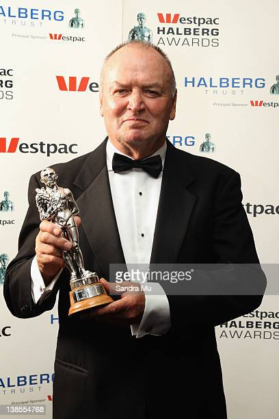 Sir Graham Henry poses with his award for Coach of the Year during the 2012 Halberg Awards at Sky City Convention Centre on February 9 2012 in...