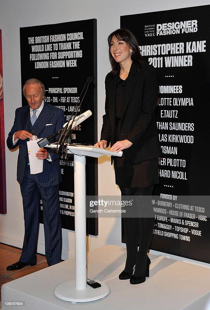 Sir Harold Tillman and British Fashion Council Ambassador Samantha Cameron officially open London Fashion Week Autumn/Winter 2011 at Somerset House on February 18, 2011 in London, England.