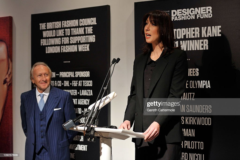 Sir Harold Tillman and British Fashion Council Ambassador <a gi-track='captionPersonalityLinkClicked' href=/galleries/search?phrase=Samantha+Cameron&family=editorial&specificpeople=624344 ng-click='$event.stopPropagation()'>Samantha Cameron</a> officially open London Fashion Week Autumn/Winter 2011 at Somerset House on February 18, 2011 in London, England.