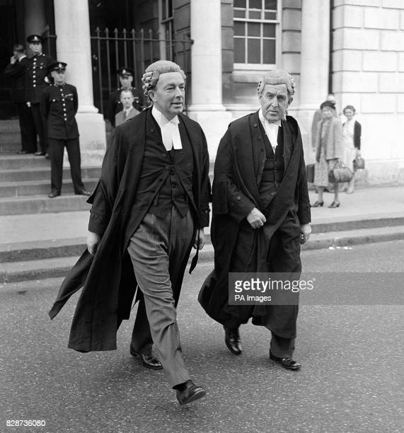 Sir Hartley Shawcross K C the AttorneyGeneral and Mr Eric Neve KC at Lewes Sussex during the trial of John George Haigh