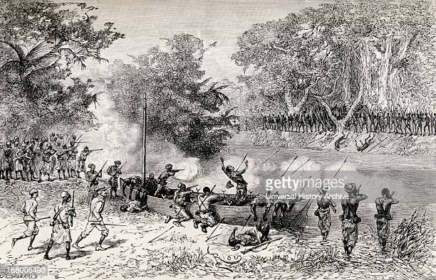 Sir Henry Morton Stanley's Emin Pasha Relief Expedition 1886 To 1889 Being Attacked By Avisibba Cannibals Using Poisoned Arrows From In Darkest...