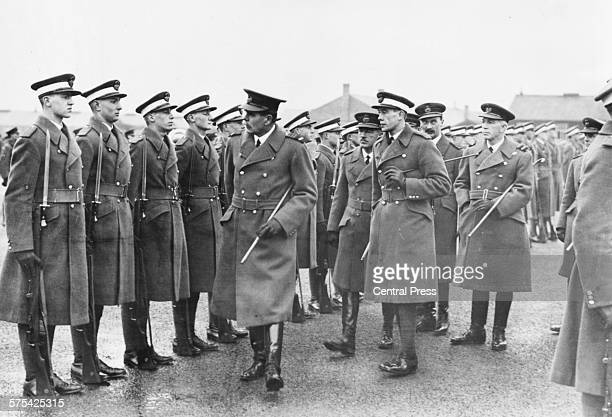 Sir Hugh Trenchard Marshal of the Royal Air Force inspecting cadets at the RAF School in Cranwell England December 1926