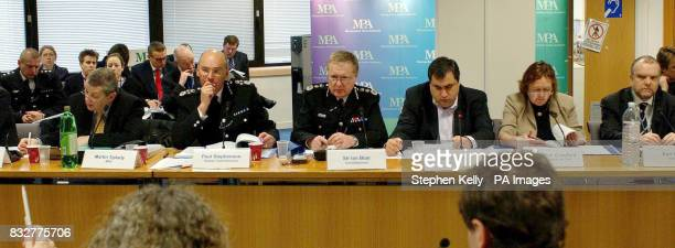 Sir Ian Blair Comissioner of the Metropolitan Police attends a Metropolitan Police Authority meeting at the MPA offices London where they warned that...