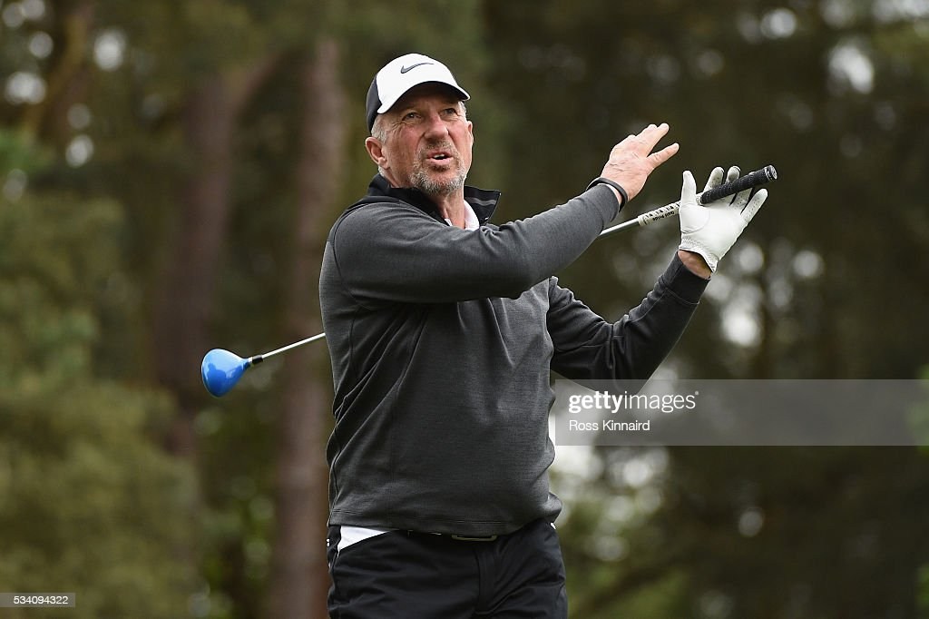 Sir <a gi-track='captionPersonalityLinkClicked' href=/galleries/search?phrase=Ian+Botham&family=editorial&specificpeople=207145 ng-click='$event.stopPropagation()'>Ian Botham</a> reacts during the Pro-Am prior to the BMW PGA Championship at Wentworth on May 25, 2016 in Virginia Water, England.