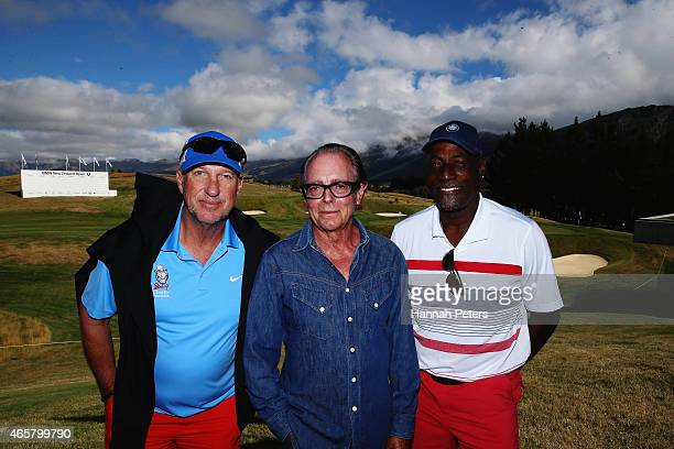 Sir Ian Botham Sir Michael Hill and Sir Viv Richards pose for a photo following a press conference prior to playing in the New Zealand Open at The...