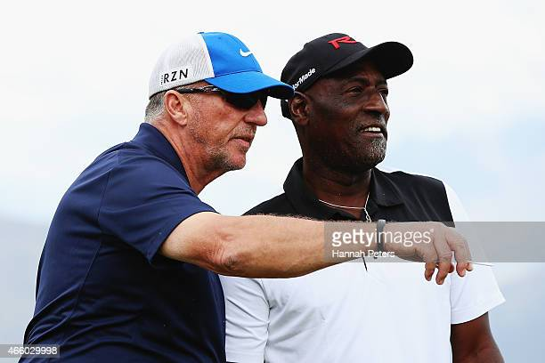 Sir Ian Botham talks to former West Indies cricketer Sir Viv Richards during day two of the New Zealand Open at The Hills Golf Club on March 13 2015...