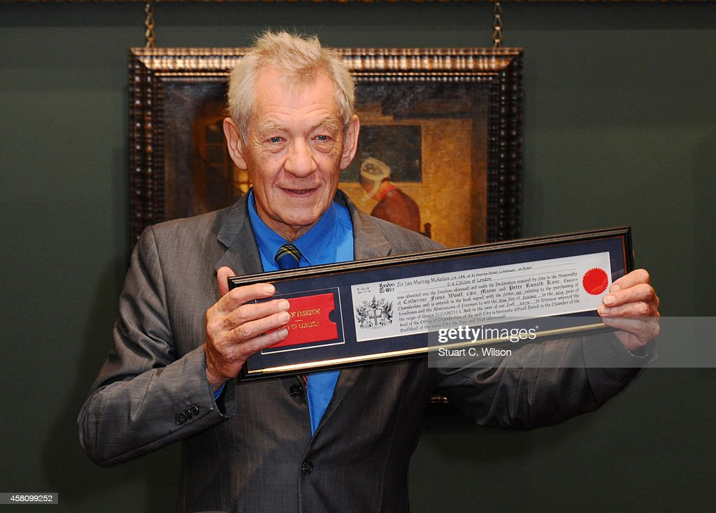 Sir Ian McKellan attends a photocall as he receives the Freedom of the City of London at The Guildhall on October 30, 2014 in London, England.