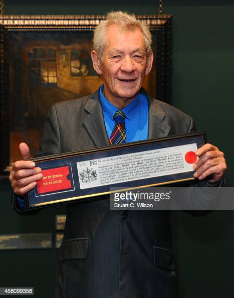 Sir Ian McKellan attends a photocall as he receives the Freedom of the City of London at The Guildhall on October 30 2014 in London England