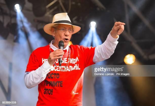 Sir Ian McKellan onstage during Pride in London in Trafalgar Square in central London
