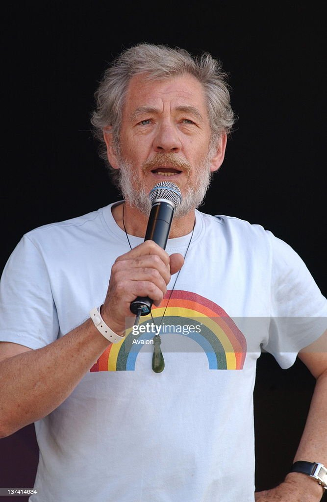 Sir Ian McKellen addresses the rally for PRIDE, Trafalgar Square, London July 3, 2004.