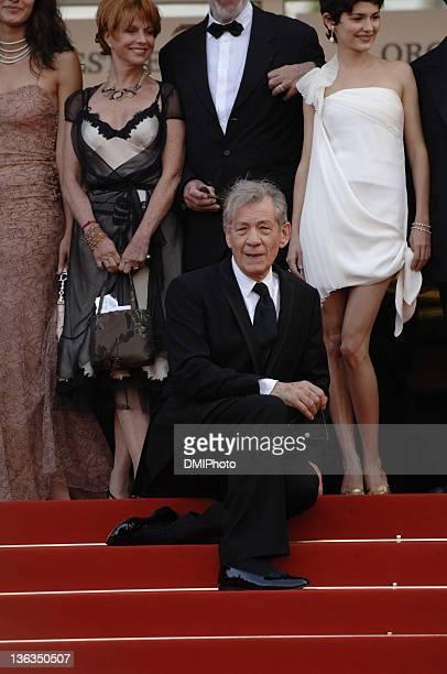 Sir Ian McKellen and Audrey Tautou during Cannes Film Festival 'Da Vinci Code' gala at Palais des Festivals Cannes in Cannes France