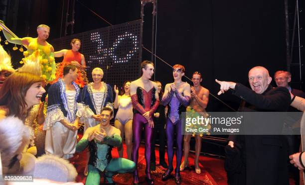 Sir Ian McKellen and Jean Paul Gaultier meet with cast members of the cast of 'Priscilla Queen of the Desert' backstage at the Palace Theatre in...