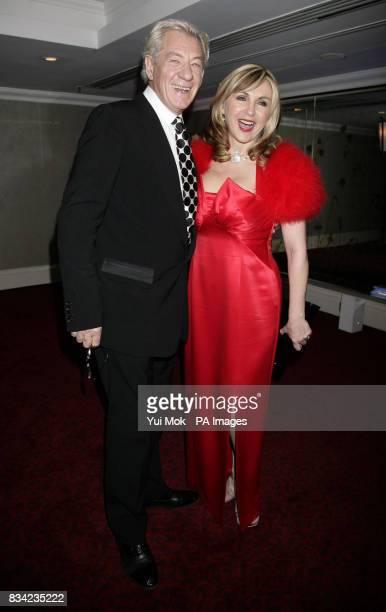 Sir Ian McKellen and Lesley Garrett arriving for the Laurence Olivier Awards at Grosvenor House in central London