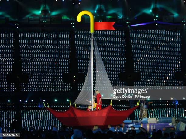 Sir Ian McKellen and Nicola Miles Wildin as lead character Miranda from Shakespeare's The Tempest during the Opening Ceremony for the London...