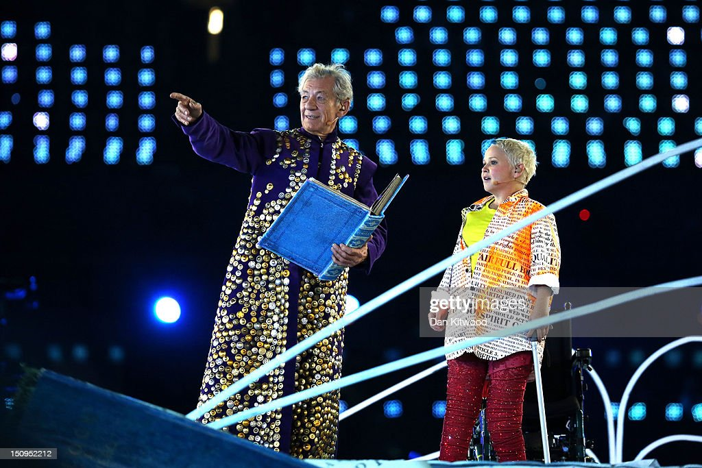 Sir Ian McKellen and Nicola Miles-Wildin performing as Prospero and Miranda during the Opening Ceremony of the London 2012 Paralympics at the Olympic Stadium on August 29, 2012 in London, England.