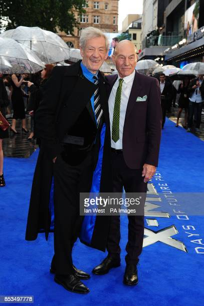Sir Ian McKellen and Patrick Stewart arriving at the XMen Days of Future Past UK premieree at The West End Odeon Leicester Square London