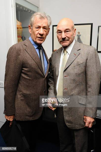 Sir Ian McKellen and Patrick Stewart attend a prelunch reception for the Evening Standard Theatre Awards at the Royal Opera House in Covent Garden...