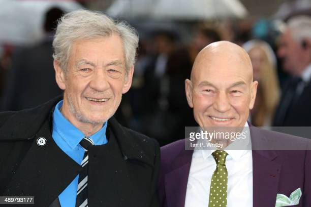 Sir Ian McKellen and Patrick Stewart attend the UK Premiere of 'XMen Days of Future Past' at Odeon Leicester Square on May 12 2014 in London England
