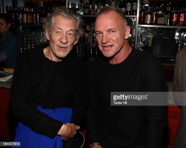 Sir Ian McKellen and Sting attend The Culture Project's 'The Seagull' opening night party at B Bar and Grill on October 13 2013 in New York City