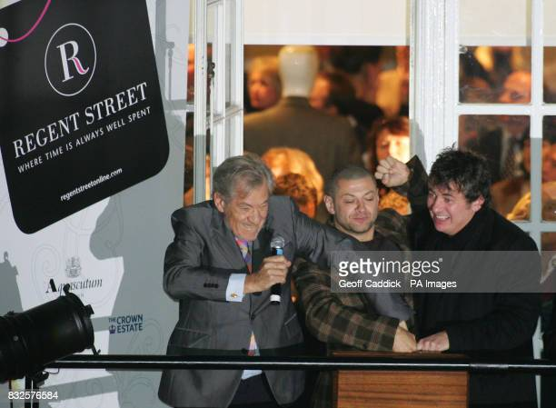 Sir Ian McKellen Andy Serkis and Shane Ritchie from the film 'Flushed Away' which is the theme of this years Regent Street lights press the button to...