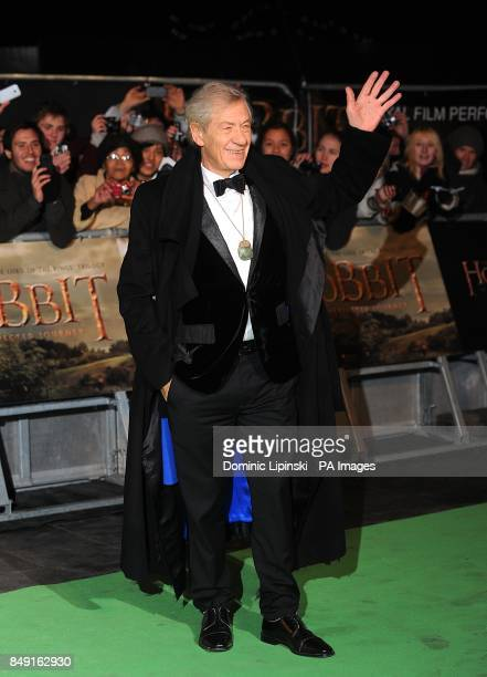 Sir Ian McKellen arriving for the UK Premiere of The Hobbit An Unexpected Journey at the Odeon Leicester Square London