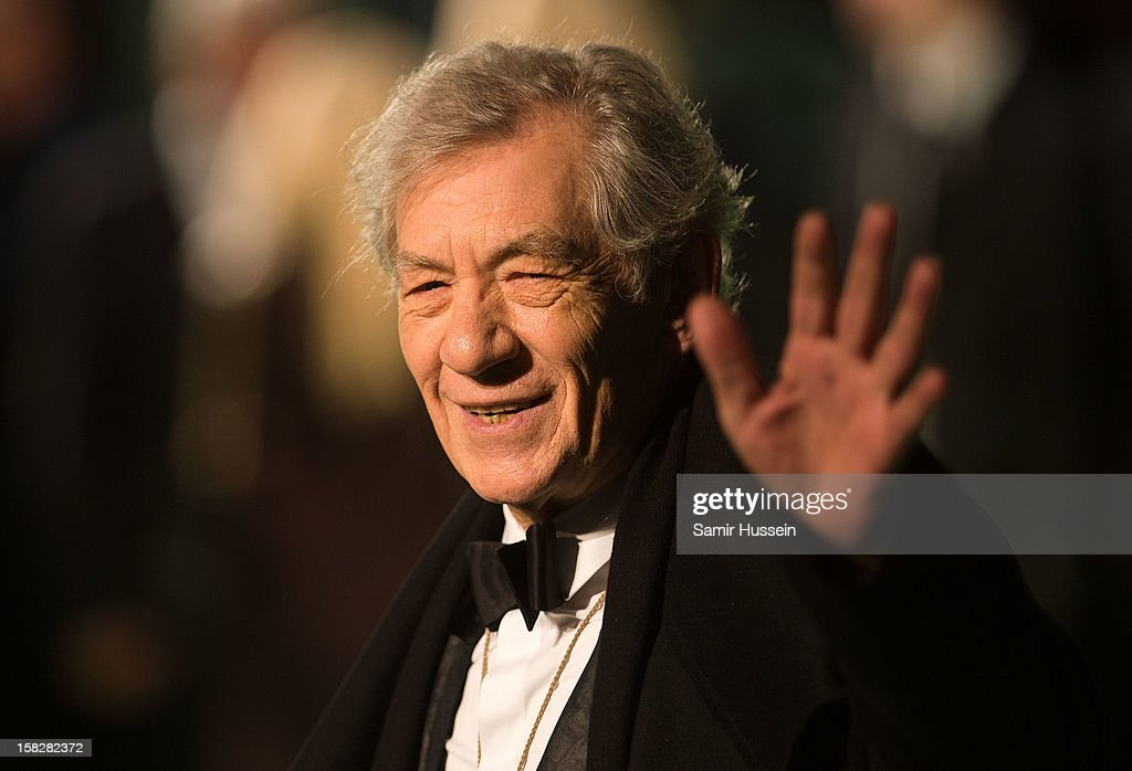 Sir Ian McKellen attends a royal film performance of 'The Hobbit: An Unexpected Journey' at The Empire Leicester Square on December 12, 2012 in London, England.