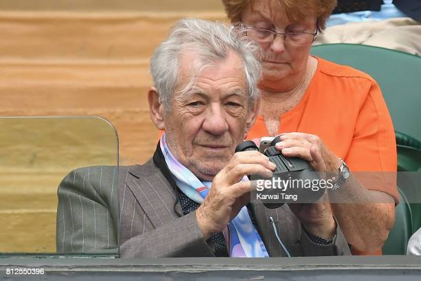 Sir Ian McKellen attends day eight of the Wimbledon Tennis Championships at the All England Lawn Tennis and Croquet Club on July 11 2017 in London...