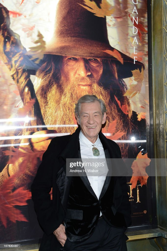 Sir Ian McKellen attends 'The Hobbit: An Unexpected Journey' New York Premiere Benefiting AFI - Red Carpet And Introduction at Ziegfeld Theater on December 6, 2012 in New York City.
