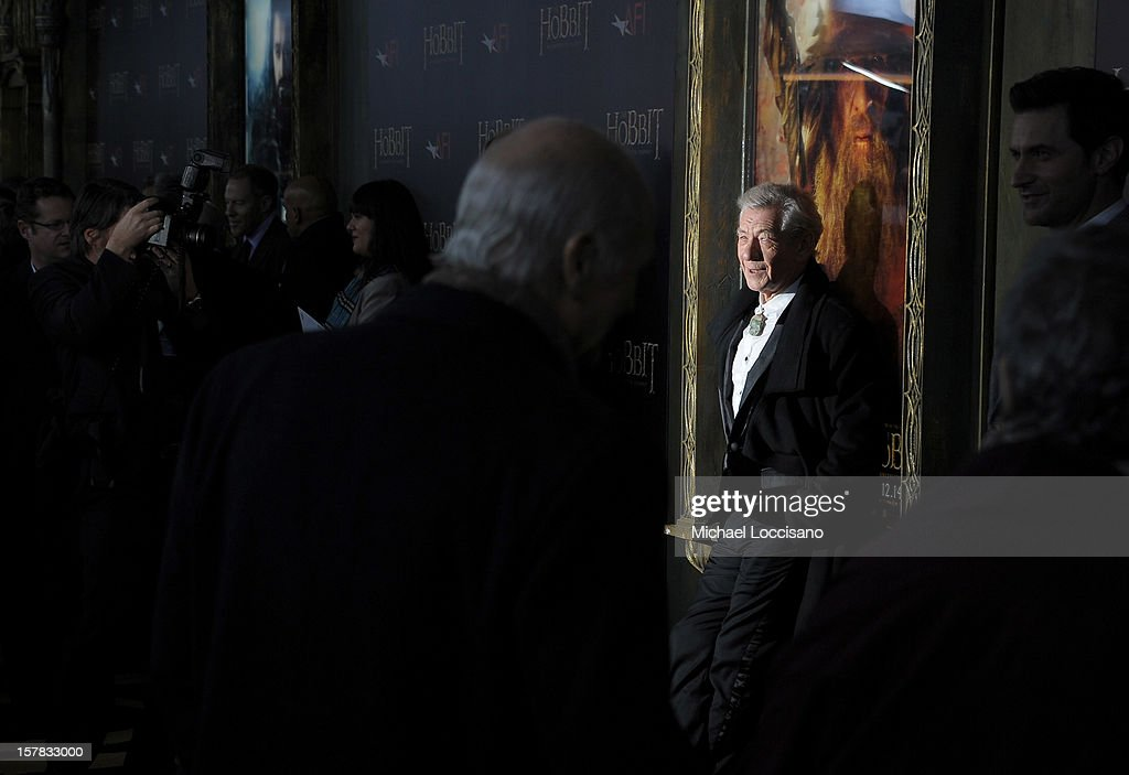 Sir <a gi-track='captionPersonalityLinkClicked' href=/galleries/search?phrase=Ian+McKellen&family=editorial&specificpeople=202983 ng-click='$event.stopPropagation()'>Ian McKellen</a> attends 'The Hobbit: An Unexpected Journey' New York premiere benefiting AFI at Ziegfeld Theater on December 6, 2012 in New York City.
