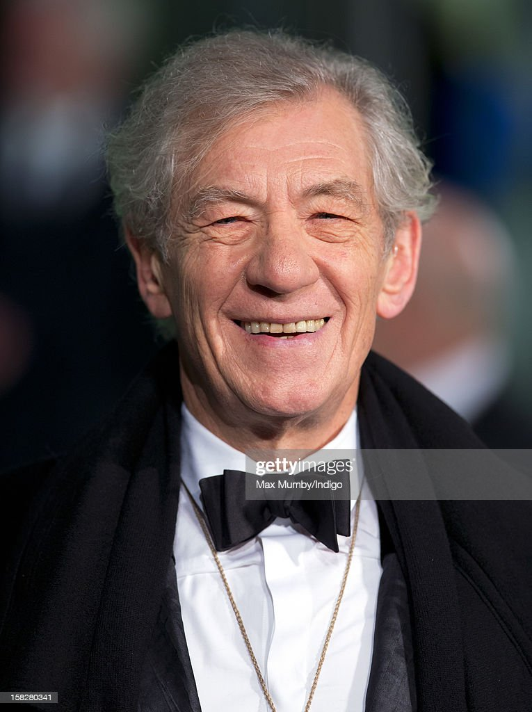 Sir <a gi-track='captionPersonalityLinkClicked' href=/galleries/search?phrase=Ian+McKellen&family=editorial&specificpeople=202983 ng-click='$event.stopPropagation()'>Ian McKellen</a> attends the Royal Film Performance of 'The Hobbit: An Unexpected Journey' at Odeon Leicester Square on December 12, 2012 in London, England.