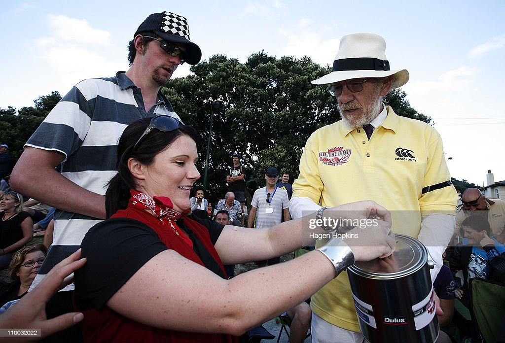 Sir Ian McKellen collects donations from the crowd during the Christchurch Earthquake Relief Charity Twenty20 match at Basin Reserve on March 13, 2011 in Wellington, New Zealand.