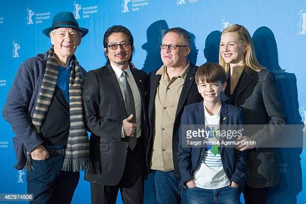 Sir Ian McKellen Hiroyuki Sanada Bill Condon Milo Parker and Laura Linney attend the 'Mr Holmes' photocall during the 65th Berlinale International...