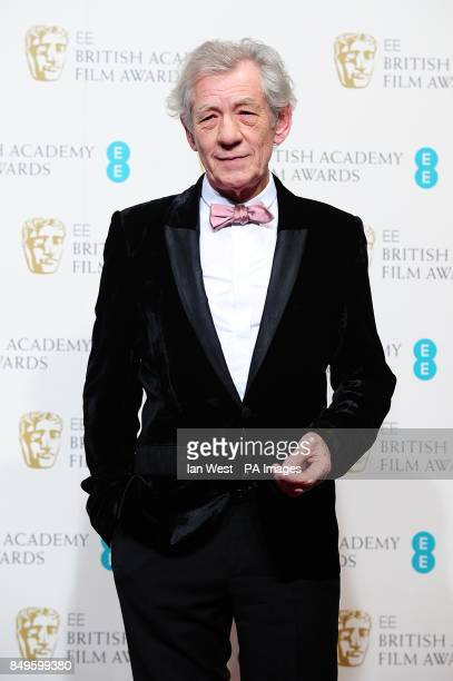 Sir Ian McKellen in the press room at the 2013 British Academy Film Awards at the Royal Opera House Bow Street London