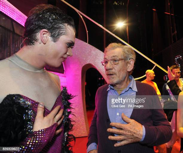 Sir Ian McKellen meets with cast members of the cast of 'Priscilla Queen of the Desert' backstage at the Palace Theatre in central London