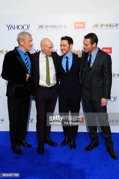 Sir Ian McKellen Patrick Stewart James McAvoy and Michael Fassbender arriving at the XMen Days of Future Past UK premieree at The West End Odeon...