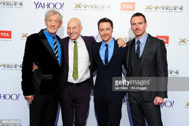 Sir Ian McKellen Patrick Stewart James McAvoy and Michael Fassbender arriving at the XMen Days of Future Past UK premiere at The West End Odeon...