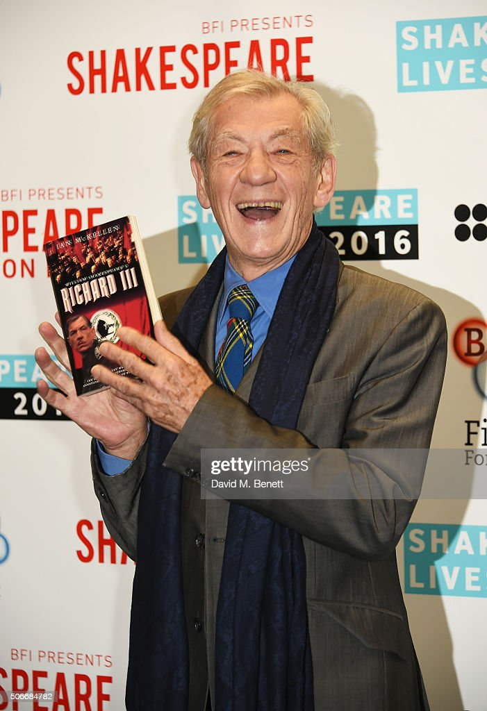 Sir <a gi-track='captionPersonalityLinkClicked' href=/galleries/search?phrase=Ian+McKellen&family=editorial&specificpeople=202983 ng-click='$event.stopPropagation()'>Ian McKellen</a> poses at a photocall to launch 'BFI Presents Shakespeare On Film' at BFI Southbank on January 25, 2016 in London, England.