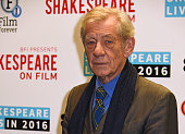 Sir Ian McKellen poses at a photocall to launch 'BFI Presents Shakespeare On Film' at BFI Southbank on January 25 2016 in London England