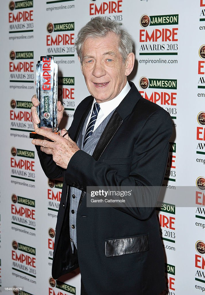 Sir Ian McKellen poses in the press room with the Best Science Fiction/Fantasy award for 'The Hobbit: An Unexpected Journey' at the Jameson Empire Awards 2013 at Grosvenor House on March 24, 2013 in London, England.