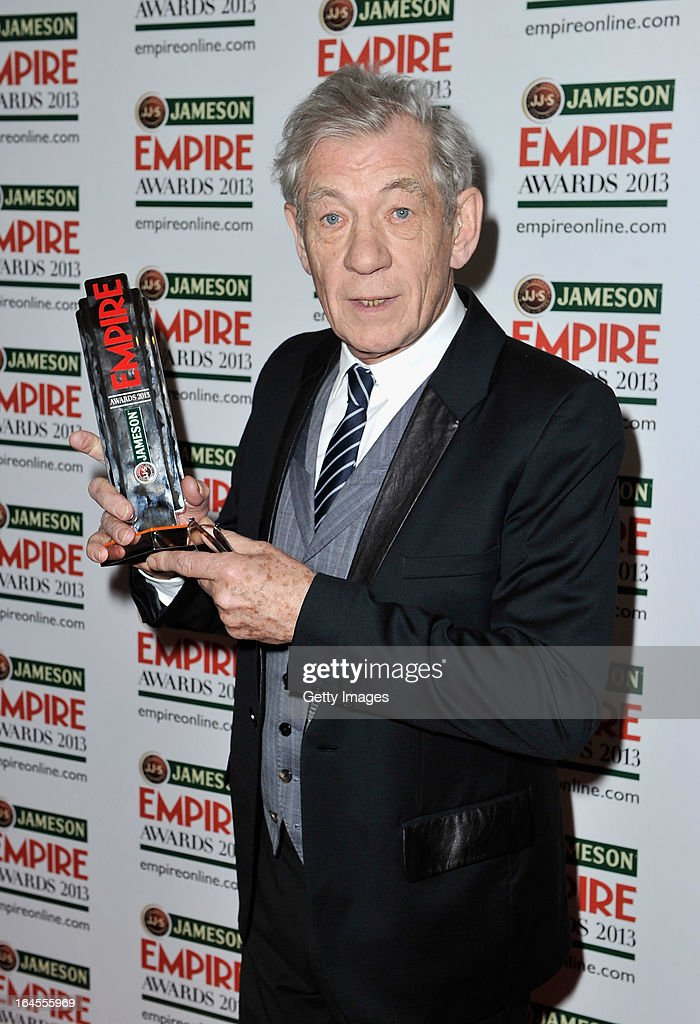 Sir Ian McKellen poses in the press room with the Best Science Fiction/Fantasy award for 'The Hobbit: An Unexpected Journey' at the Jameson Empire Awards at Grosvenor House on March 24, 2013 in London, England. Renowned for being one of the most laid-back awards shows in the British movie calendar, the Jameson Empire Awards celebrate the film industry's success stories of the year with Empire Magazine readers voting for the winners. Visit empireonline.com/awards2013 for more information.
